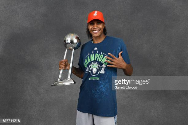 Rebekkah Brunson of the Minnesota Lynx poses for a portrait while holding the 2017 WNBA Championship trophy after the game against the Los Angeles...