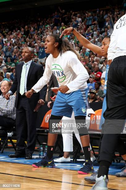 Rebekkah Brunson of the Minnesota Lynx reacts during the game against the Washington Mystics during WNBA game on June 23 2017 at Xcel Energy Center...