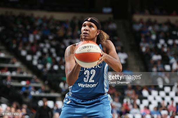 Rebekkah Brunson of the Minnesota Lynx shoots a free throw against the Phoenix Mercury in Game Two of the Semifinals during the 2016 WNBA Playoffs on...