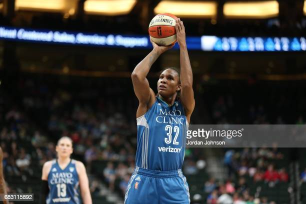 Rebekkah Brunson of the Minnesota Lynx shoots a free throw during a game against the Chicago Sky on May 14 2017 at Xcel Energy Center in St Paul...