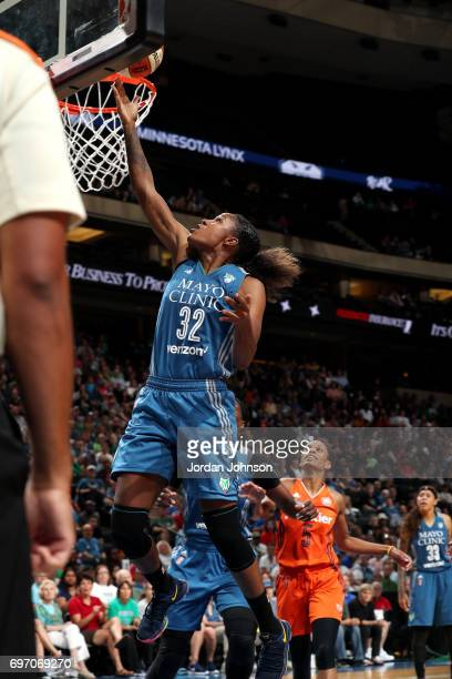 Rebekkah Brunson of the Minnesota Lynx shoots a lay up during the game against the Connecticut Sun during a WNBA game on June 17 2017 at Xcel Energy...