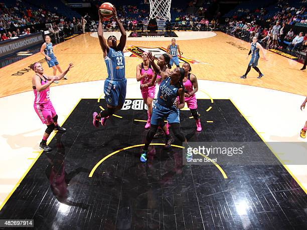 Rebekkah Brunson of the Minnesota Lynx shoots the ball against the Tulsa Shock on August 1 2015 at the BOK Center in Tulsa Oklahoma NOTE TO USER User...