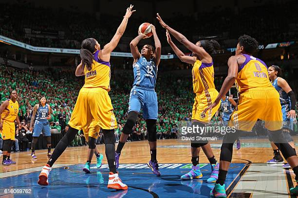 Rebekkah Brunson of the Minnesota Lynx shoots the ball against the Los Angeles Sparks during Game Five of the 2016 WNBA Finals on October 20 2016 at...