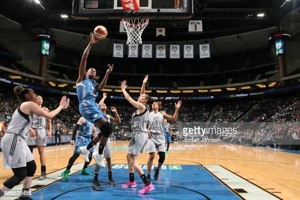 Rebekkah Brunson of the Minnesota Lynx shoots the ball against the San Antonio Stars on May 28 2017 at Xcel Energy Center in St Paul Minnesota NOTE...