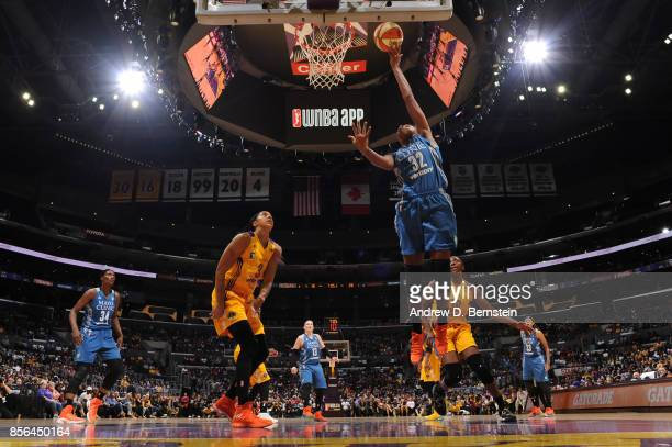 Rebekkah Brunson of the Minnesota Lynx shoots the ball against the Los Angeles Sparks in Game 4 of the 2017 WNBA Finals on October 1 2017 in Los...