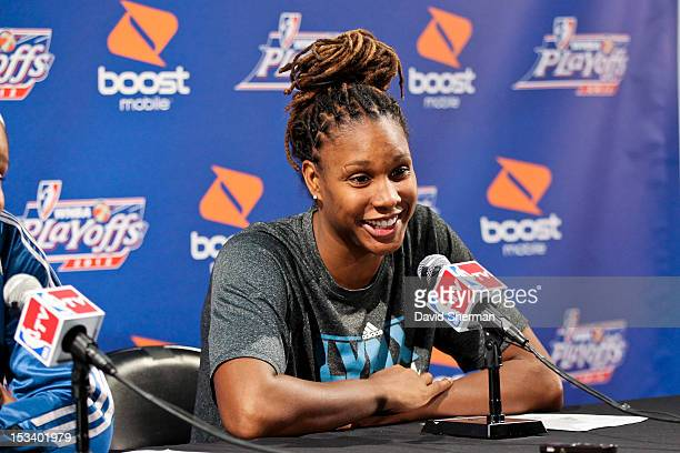 Rebekkah Brunson of the Minnesota Lynx speaks to the media after Game One of the 2012 WNBA Western Conference Finals against the Los Angeles Sparks...