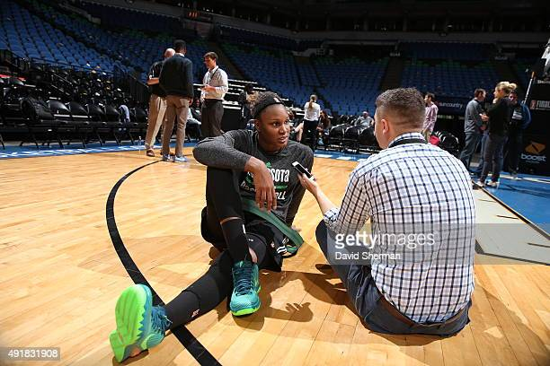Rebekkah Brunson of the Minnesota Lynx talks to reporters during media availability prior to Game 1 of the 2015 WNBA Finals on October 3 2015 at...