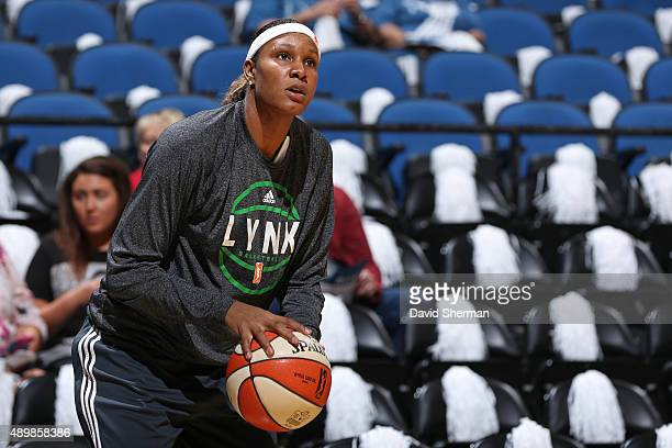 Rebekkah Brunson of the Minnesota Lynx warms up before Game One of the WNBA Western Conference Finals against the Phoenix Mercury on September 24...