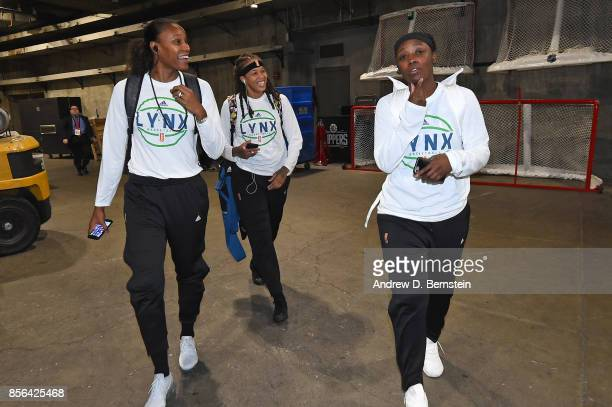 Rebekkah Brunson Seimone Augustus and Alexis Jones of the Minnesota Lynx arrive at the arena before Game 4 against the Los Angeles Sparks at the 2017...
