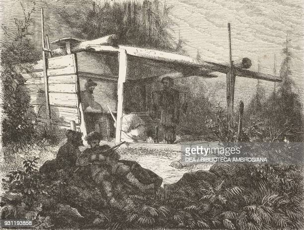 Rebel camp drawing by J Moynet from Free Russia 1869 by William Hepworth Dixon from Il Giro del mondo Journal of geography travel and costumes Volume...