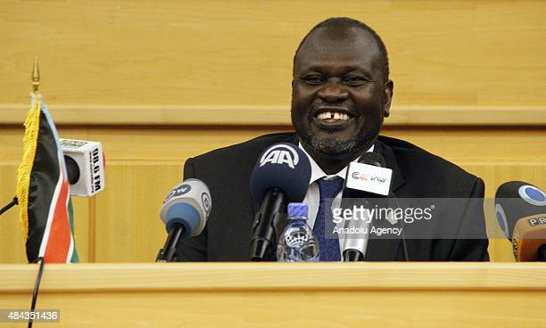 Rebel chief Riek Machar gives a speech during a press conference after he attend peace talks with former Secretary General of South South Sudan's...