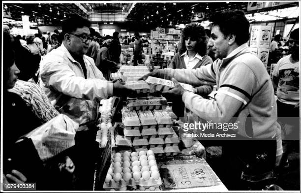 Rebel Egg Farmer Paul Galea sells eggs Flemington Markets He is with his daughter Catherine May 17 1986