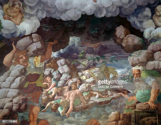 Rebel giants being hit by the fall of the mountain 15321535 detail from a fresco by Giulio Romano Chamber of the Giants Palazzo Te Mantua Lombardy...
