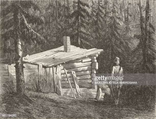 Rebel hut drawing by J Moynet from Free Russia by William Hepworth Dixon from Il Giro del mondo Journal of geography travel and costumes Volume XVIII...