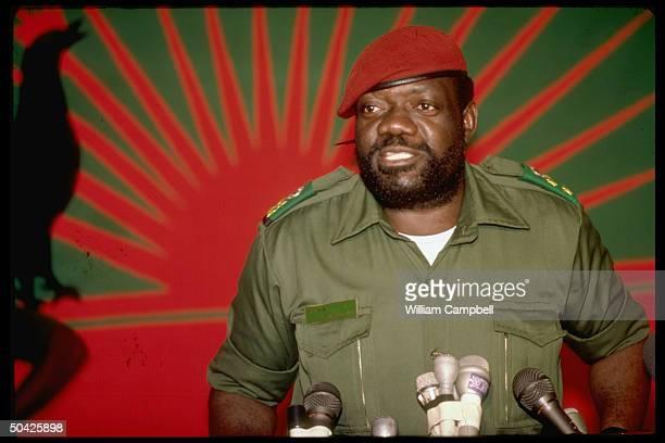 Rebel ldr Jonas Savimbi at UNITA HQ Jamba Southern Angola