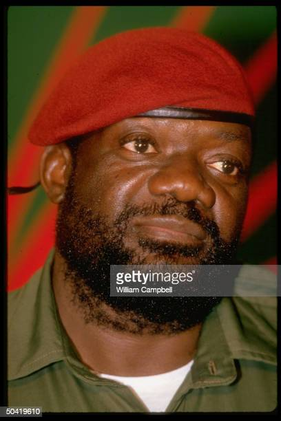 Rebel ldr Jonas Savimbi in red beret at UNITA HQ