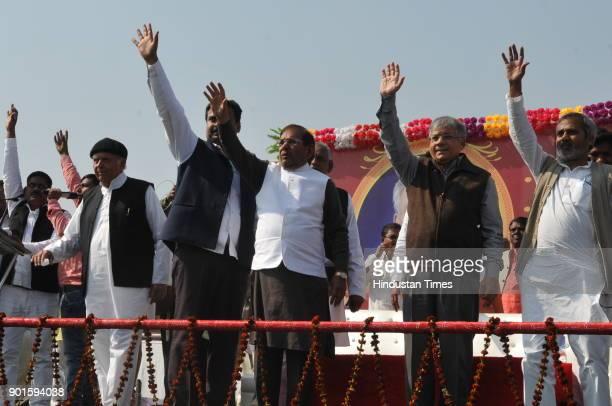 JD rebel leader Sharad Yadav along with Prakash Ambedkar and other leaders during ' lathi rally' organised by Akhil Bhartiya Mahatma Phule Samta...