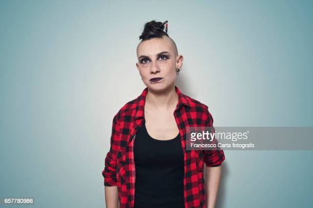 rebel - half shaved hairstyle stock pictures, royalty-free photos & images