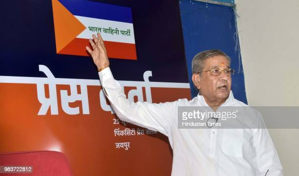 Rebel Rajasthan BJP MLA Ghanshyam Tiwari addresses a press conference after he tendered his resignation from the party on June 25 2018 in Jaipur...