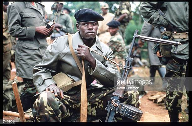 A rebel soldier of the Rwandan Patriotic Front poses May 25 1994 in Kigali Rwanda Following the assassination of President Juvenal Habyarimana in...