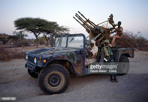 Rebel soldiers with the Forces Armees Nationales Chadiennes or National Army of Chad capture a United States Army military jeep near the Sudanese...