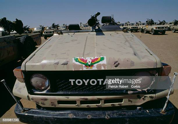 Rebel soldiers with the Forces Armées Nationales Chadiennes or National Army of Chad seize Libyan weapons and military jeeps marked with the...