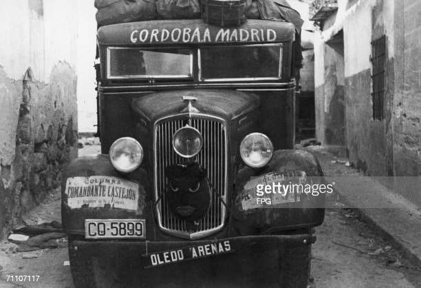 A rebel supply lorry in a street of San Martin during the Spanish Civil War circa 1937