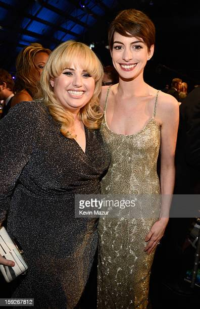 Rebel Wilson and Anne Hathaway during the 18th Annual Critics' Choice Movie Awards at The Barker Hanger on January 10 2013 in Santa Monica California