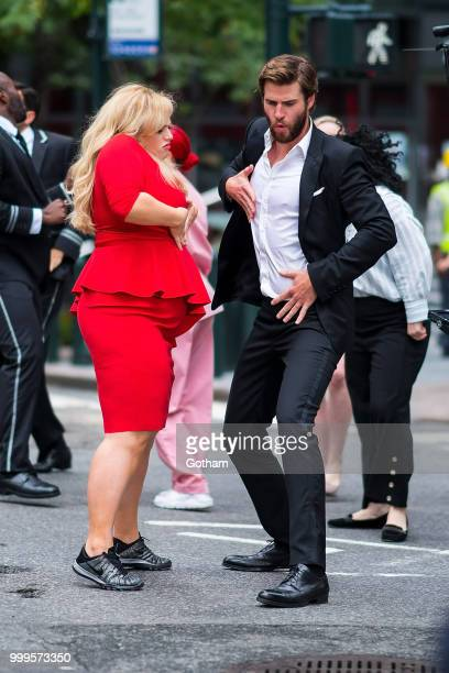 Rebel Wilson and Liam Hemsworth are seen filming a scene for 'Isn't It Romantic' in Midtown on July 15 2018 in New York City