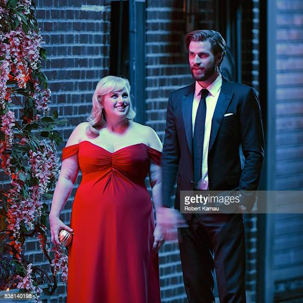 Rebel Wilson and Liam Hemsworth seen at a film set of 'Isn't It Romantic' in Queens on August 23, 2017 in New York City.