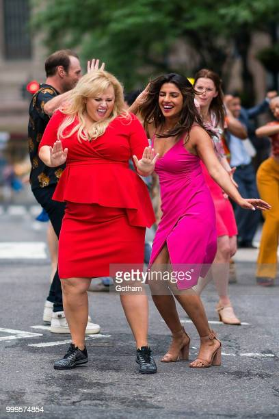 Rebel Wilson and Priyanka Chopra are seen filming a scene for 'Isn't It Romantic' in Midtown on July 15 2018 in New York City