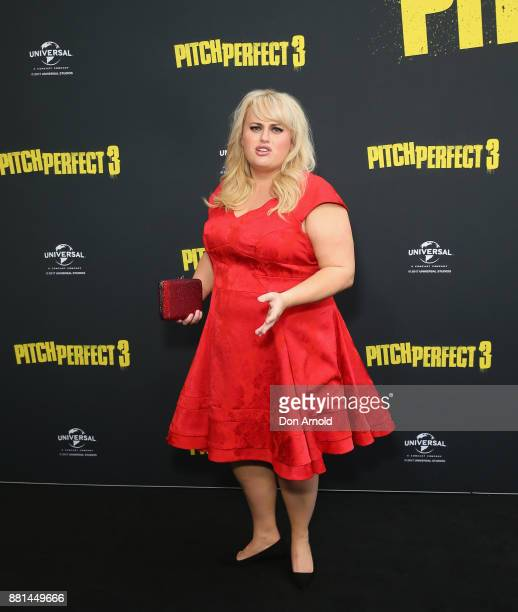 Rebel Wilson arrives ahead of the Australian Premiere of Pitch Perfect 3 on November 29 2017 in Sydney Australia