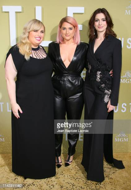 Rebel Wilson Meghan Trainor and Anne Hathaway attend the premiere of MGM's The Hustle at ArcLight Cinerama Dome on May 08 2019 in Hollywood California