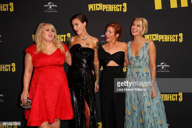 Rebel Wilson Ruby Rose Brittany Snow and Anna Camp arrive ahead of the Australian Premiere of Pitch Perfect 3 on November 29 2017 in Sydney Australia