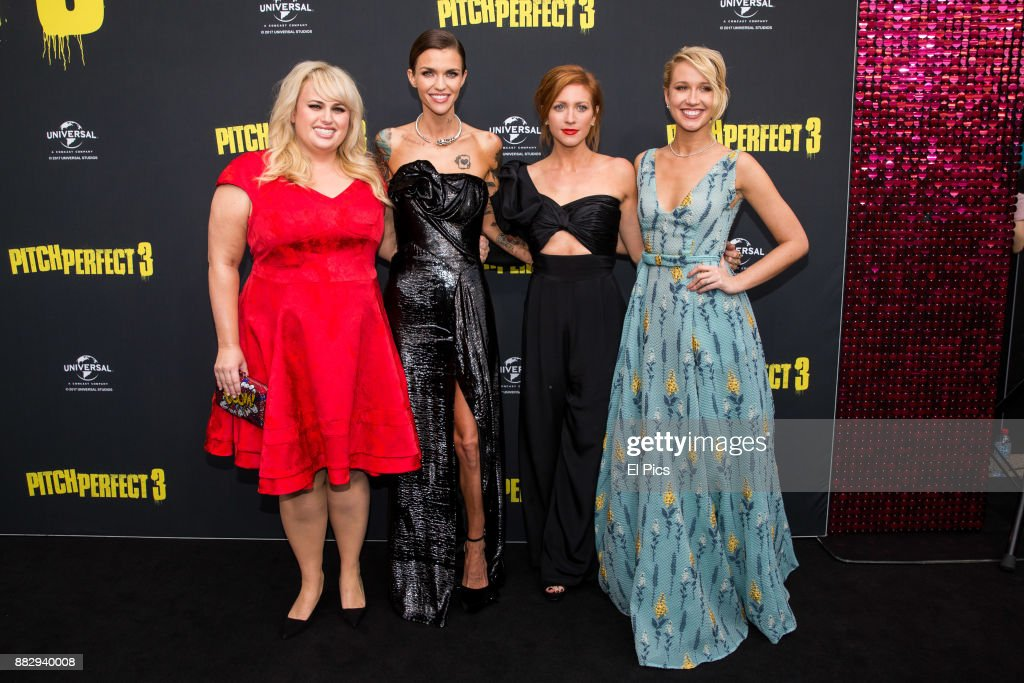 Rebel Wilson, Ruby Rose, Brittany SNow and Anna Camp arrive ahead of the Australian Premiere of Pitch Perfect 3 on November 29, 2017 in Sydney, Australia.