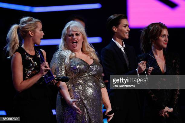 Rebel Wilson Ruby Rose Brittany Snow and Anna Camp present the ARIA for Best International Act during the 31st Annual ARIA Awards 2017 at The Star on...