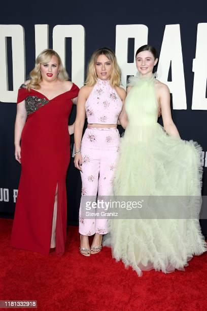 Rebel Wilson Scarlett Johansson and Thomasin McKenzie attend the premiere of Fox Searchlights' Jojo Rabbit at Post 43 on October 15 2019 in Los...
