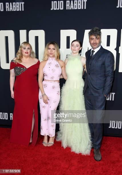Rebel Wilson Scarlett Johansson Thomasin McKenzie and Taika Waititi attend the premiere of Fox Searchlights' Jojo Rabbit at Post 43 on October 15...
