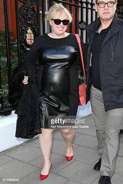 Rebel Wilson seen leaving Claridges Hotel on February 15 2016 in London England