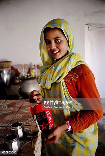 Rebelde Zapatista Coffee in homes Saharawi in the Saharawi refugee camp Smara on January 5 2009 in Tindouf Algeria