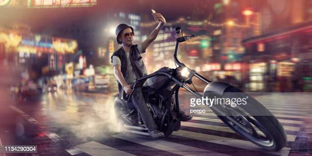 rebellious senior man riding a chopper motorbike and taking selfie - caricature stock pictures, royalty-free photos & images