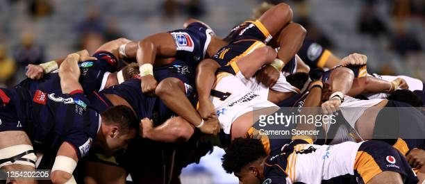 Rebels and Brumbies forwards pack a scrum during the round one Super Rugby AU match between the Brumbies and the Rebels at GIO Stadium on July 04,...