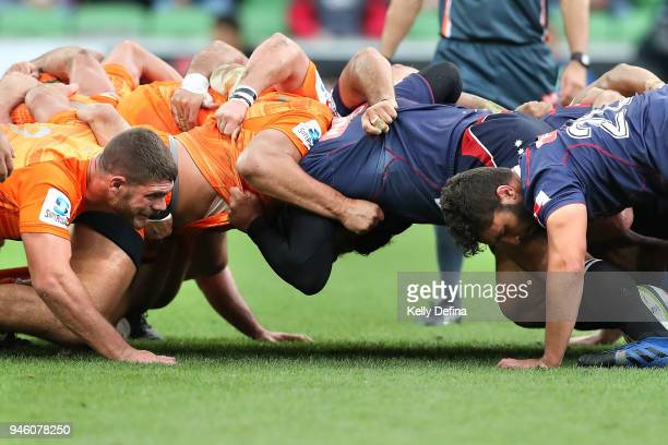 Rebels and Jaguares compete in a scrum during the round nine Super Rugby match between the Rebels and the Jaguares at AAMI Park on April 14 2018 in...