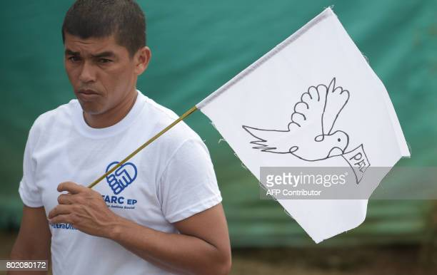 FARC rebels attend the final act of abandonment of arms and FARC's end as an armed group at Transitional Standardization Zone Mariana Paez Buena...