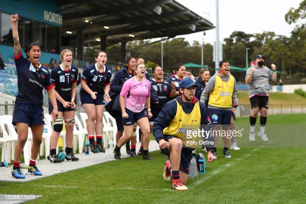 Rebels bench reacts during the Super W match between the Melbourne Rebels and the ACT Brumbies at Coffs Harbour International Stadium on July 03,...