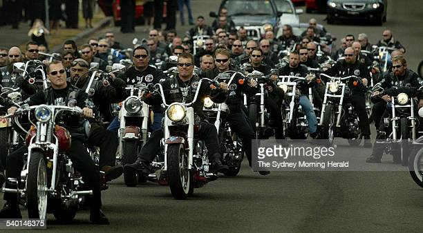 Rebels bikie club members ride in a group at South Hurstville Sydney 6 September 2005 SMH Picture by KATE GERAGHTY