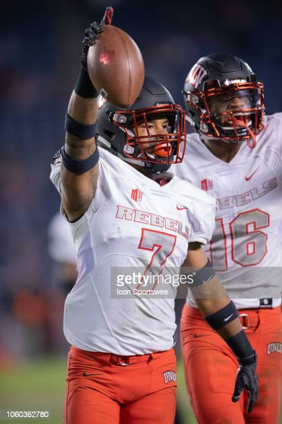 Rebels defensive back Jericho Flowers celebrates after an interception during a NCAA football game between the UNLV Rebels and the San Diego State...