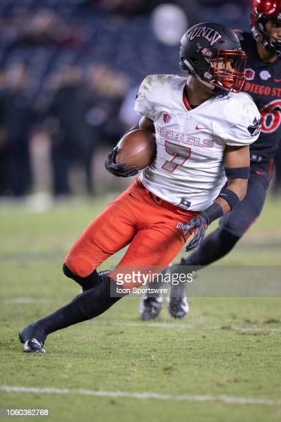 Rebels defensive back Jericho Flowers runs with the ball after an interception during a NCAA football game between the UNLV Rebels and the San Diego...