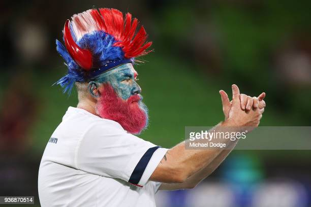 Rebels fan shows his support during the round six Super Rugby match between the Melbourne Rebels and the Sharks at AAMI Park on March 23 2018 in...