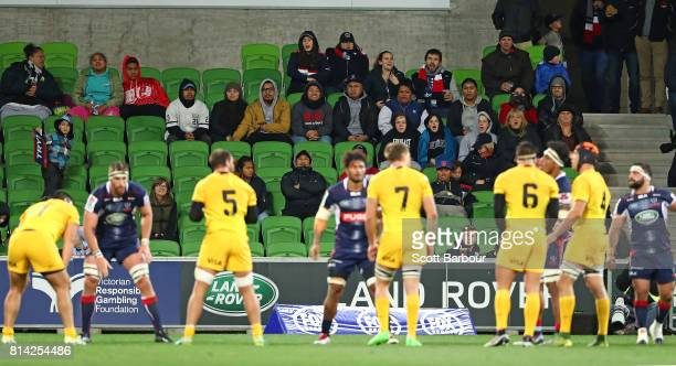 Rebels fans in the crowd watch the round 17 Super Rugby match between the Melbourne Rebels and the Jaguares at AAMI Park on July 14 2017 in Melbourne...